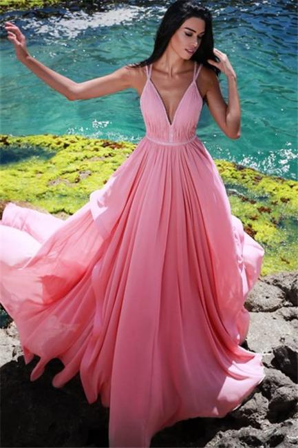 Pink V-Neck Chiffon Evening Dresses  |  Sleeveless Ruffles Long Evening Gowns