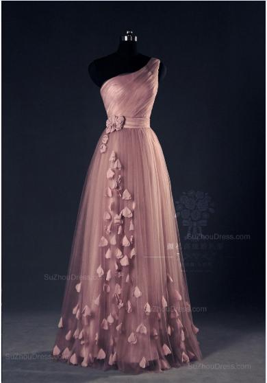 Pink Evening Dresses One Shoulder Floor Length Flower Appliques Chiffon Lace-up  Prom Dresses