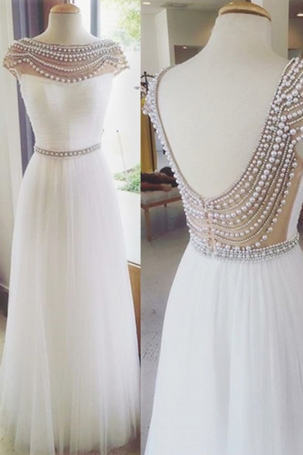 Open Back Ruffles Prom Dresses Pearls Evening Gowns