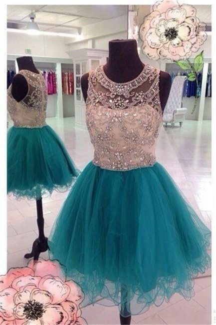 Sparkly Unique Beaded Homecoming Dresses  Puffy Organza Luxurious Party Dresses