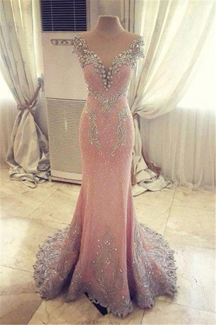 Pink Mermaid Crystals Evening Dress Beading Luxurious Formal Dresses