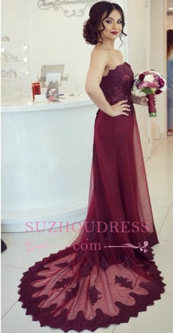 Open-Back  Elegant Court-Train Appliques Strapless Lace Burgundy Prom Dress