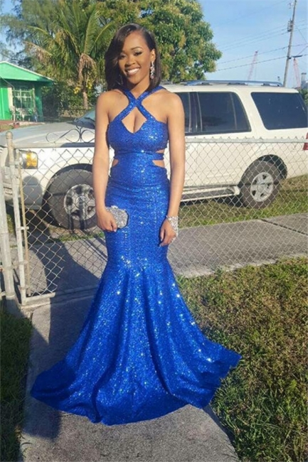New Arrival Sequined Royal Blue Mermaid Prom Dresses Sleeveless Sexy Evening Gowns