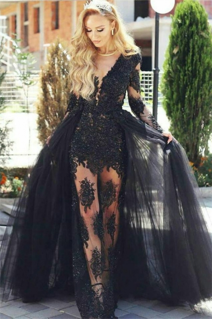 Glamorous Black Tulle Lace Prom Dresses  Long Sleeves Evening Gowns with Detachable Skirt BA7963