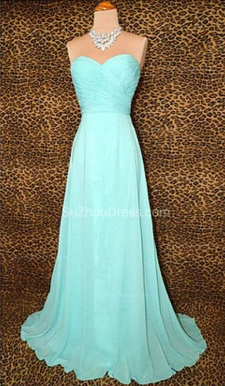 Blue Prom Dresses  Sweetheart Sleeveless A Line Sweep Train Chiffon Lace-up Evening Gowns