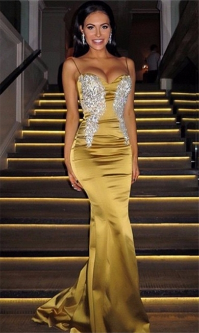 Spaghetti Straps Sexy Mermaid Gold Evening Gown Silver Appliques  Formal Dress BA7170