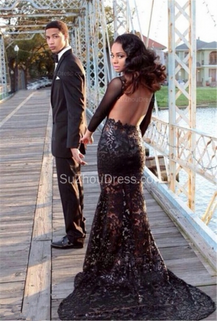 Elegant Black Lace Prom Dresses Backless Tulle Sheer Long Sleeves Sweep Train Gowns SZSM581
