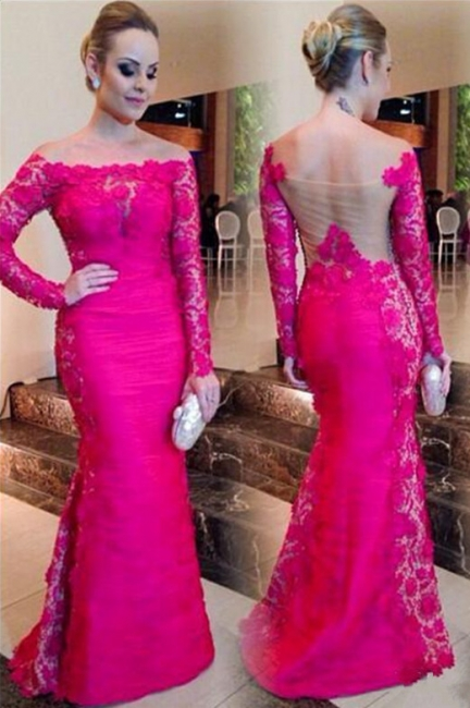 Sexy Fuchsia Mermaid Formal Occasion Dress Bateau Long Sleeeve Lace Evening Gown CE0115