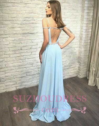 simple Long Backless Blue V-neck Stylish Evening Dress