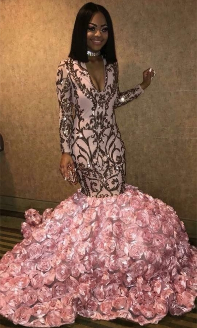 V-neck Long Sleeve Pink Flowers Prom Dresses  | 2019 Mermaid Appliques Sexy Graduation Dress bc1363