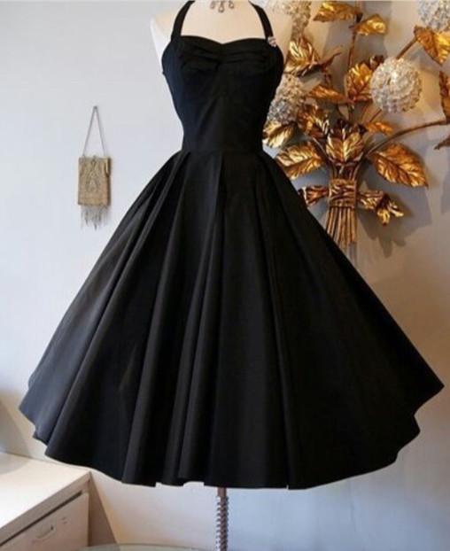 Black Halter A-Line  Homecoming Dresses Elegant Simple Mini Cocktail Dress