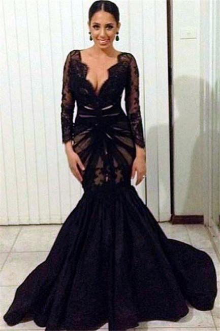 Long Sleeve Black Lace Deep V-neck Evening Dresses Sheer Tulle  Prom Gowns CE0049