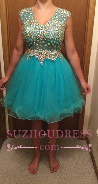 Short Gorgeous Tulle Crystal Sleeveless Homecoming Dress