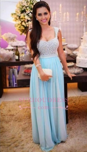 Sleeveless A-Line Long Beading Empire Crystal Prom Dresses