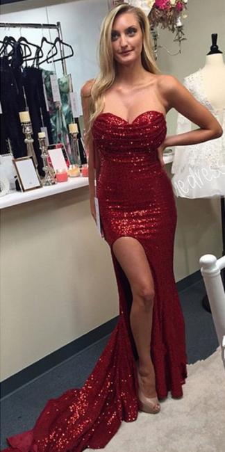 Gorgeous Sweetheart Sequins Evening Dress Sexy Slit  Formal Dress  BA6858