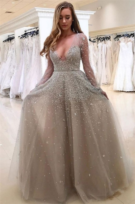 Sexy V-neck Long Sleeve Prom Dresses  Beads Tulle  Formal Evening Gown BA8559