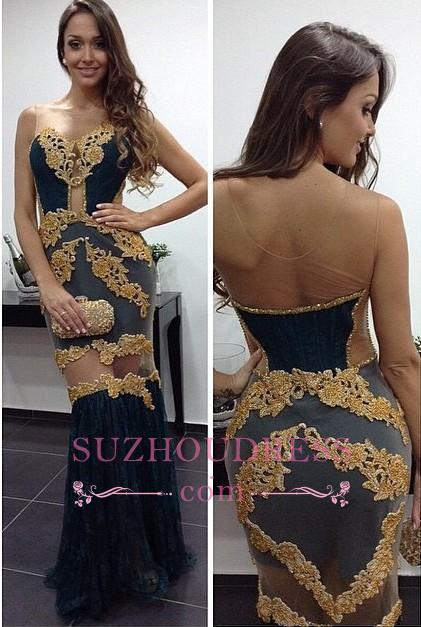 Tulle Column Newest Prom Dresses   Floor Length Sheath Sexy Evening Dress