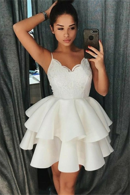 A-Line Tiered Homecoming Dresses   Spaghetti Straps Appliques Short Hoco Dress