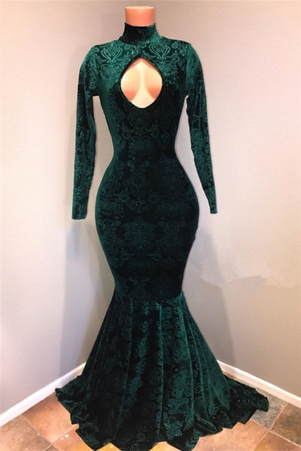 Dark Green  Lace High Neck Prom Dresses | Sexy Keyhole Long Sleeves Mermaid Evening Gowns BA9437