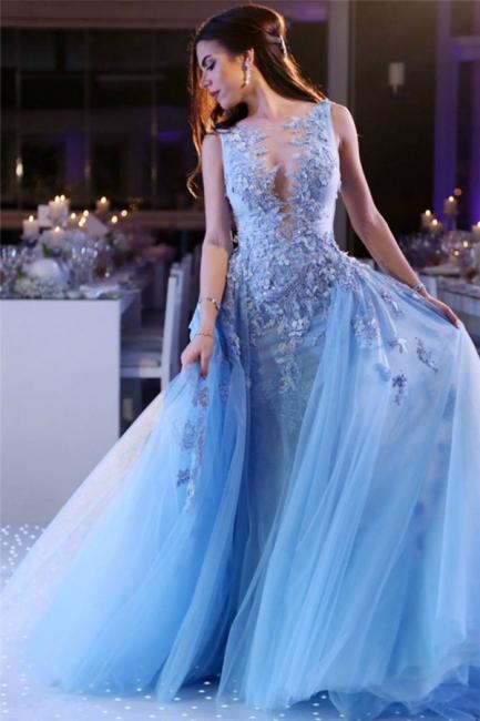 Glamorous Princess V-Neck Lace Sky Blue Prom Dress Sleeveless Appliques Tulle Evening Dresses On Sale