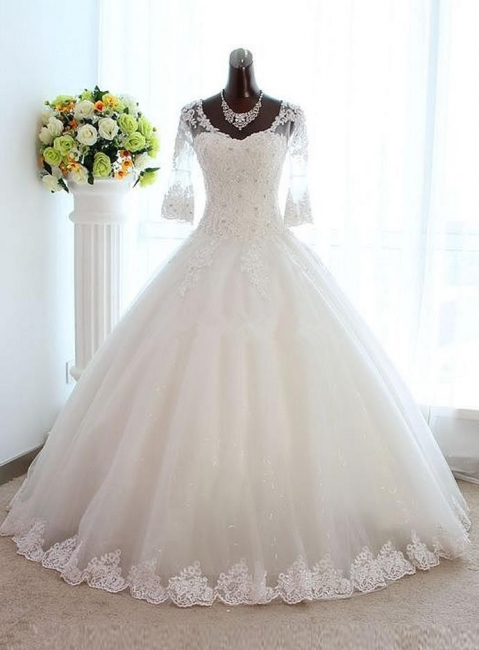 New Arrival Half Sleeve Lace Ball Gown Wedding Dress Crystal Tulle Plus Size Bridal Gown