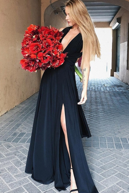 Sex Black Deep V-Neck Evening Dresses  | Open Back Side Slit A-line Party Dresses