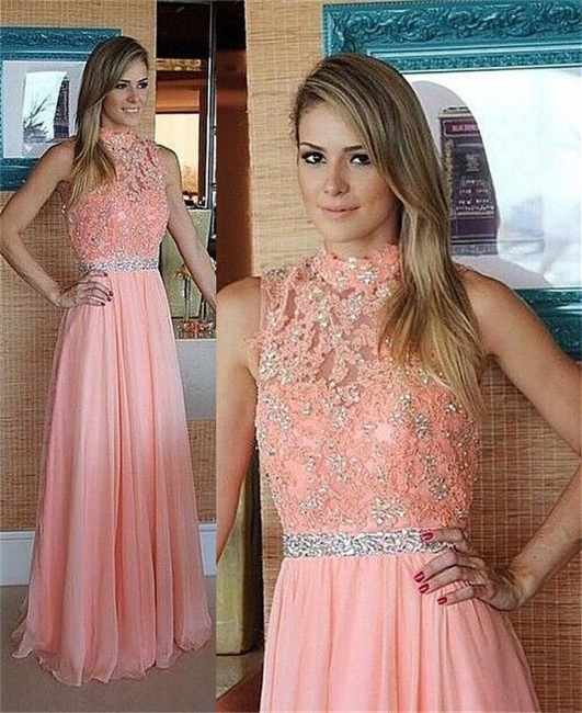 Pink Lace Chiffon  Prom Dress High Neck Evening Dress with Crystal Belt