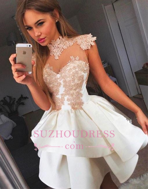 High Neck Champagne Lace Homecoming Dresses Sexy | Tiered Mini Sheer Tulle  Hoco Dresses
