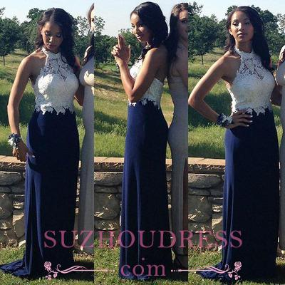 Navy-Blue Halter-Neck Lace-Top Elegant Sheath Prom Dresses