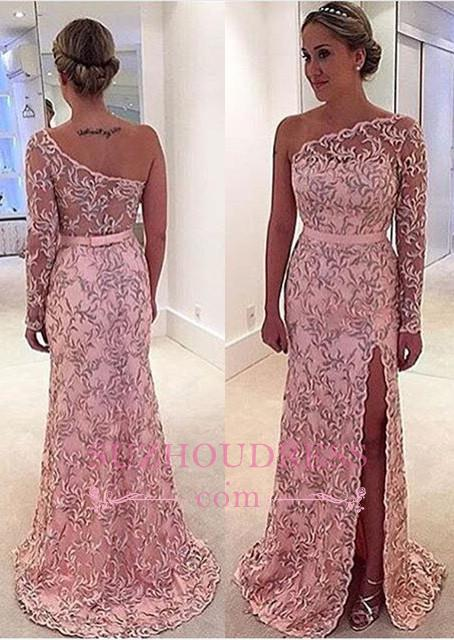 One Shoulder Long Sleeve Leaf Pattern Pink Long Prom Dress  BA4407