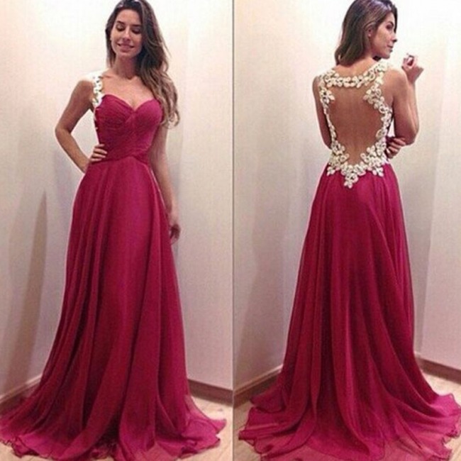 Popular  Prom Dresses White Lace Red Chiffon  Evening Dress Long