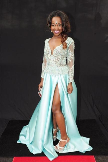 Blue  Prom Dress Lace Beads V-neck Evening Dress with Slit