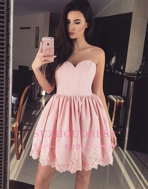 Short Cute Lace Pink Sweetheart-neck Homecoming Dress BA6855