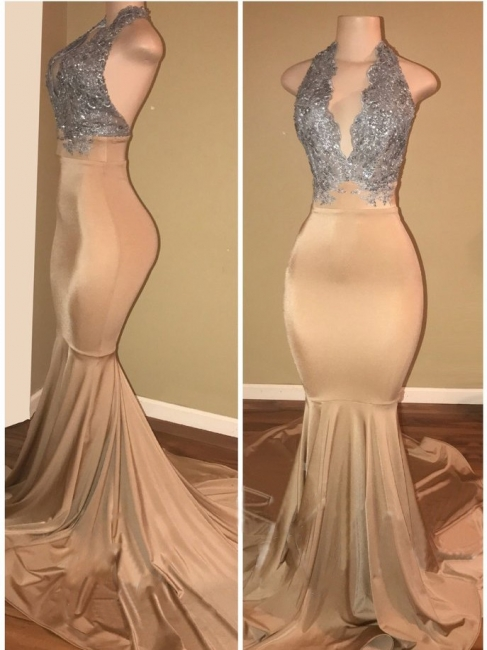 Luxury Halter Mermaid Prom Dresses  Sleeveless Applique Lace Evening Gowns BA7774