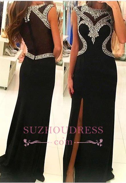 Side Slit Crystal Sheath Black Sleeveless Evening Gown  Glamorous  Prom Dress