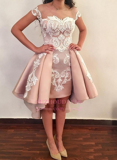 Short Pink Homecoming Dresses |  Cap Sleeves Lace Appliques Party Dress WW0002