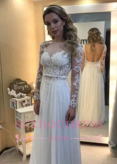 Long Sleeves A-line Chic Bride Dress  Floor Length Simple Backless Lace Wedding Dress