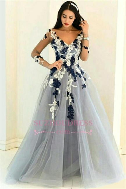 Navy and White Appliques Long Sleeve Formal Dresses Lace Popular Sheer V-neck Prom Dresses