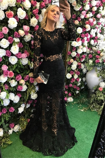 Black Lace Sheath Evening Dresses | Long Sleeves Prom Dresses with Detachable Train