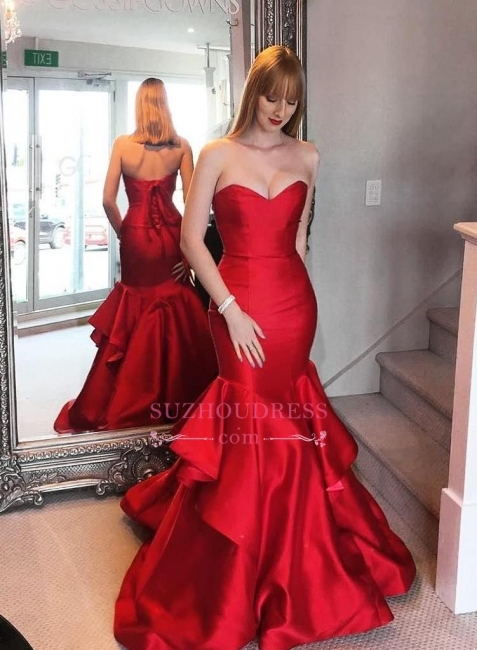 Sweep-trian Mermaid Sweetheart Red Lace-up Tired Evening Dress BA5264