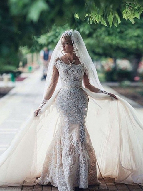 Affordable Scoop Mermaid Lace Wedding Dresses Long-Sleeves Appliques Bridal Gowns with Detachable Skirt