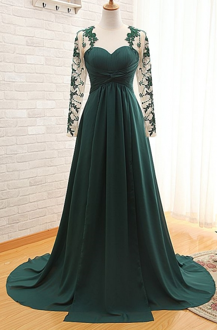 Sheer Dark Green Long Sleeves Sweetheart Prom Gowns  Empire Ruffle Evening Dresses