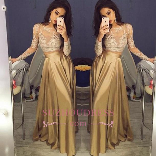 Gold Sexy Two Piece Evening Gowns Long Sleeves Lace Prom Dresses  BA3993