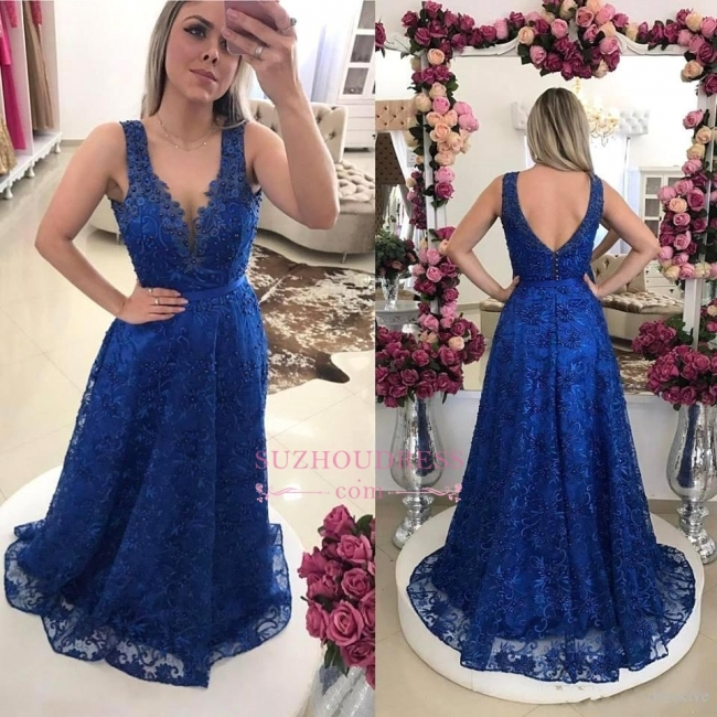 Royal-Blue V-Neck A-line Evening Dresses    Pearls Lace Prom Dresses BMT0