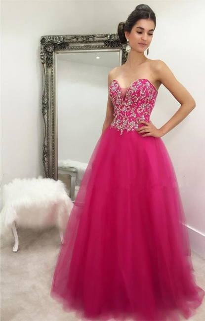 Sweetheart Hot Pink  Prom Dresses Sexy Sleeveless Tulle Beads Sequins Fuchsia Evening Gown