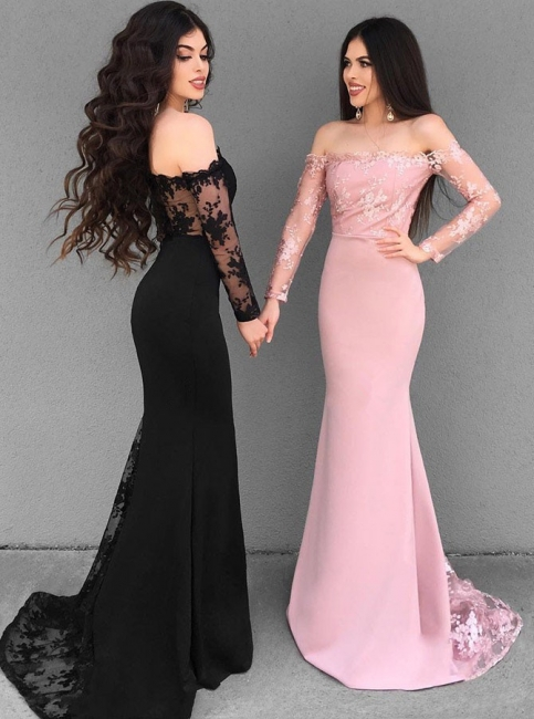 glamorous Off-the-Shoulder Sheath Evening Dresses |  Long Sleeves Appliques Prom Dresses