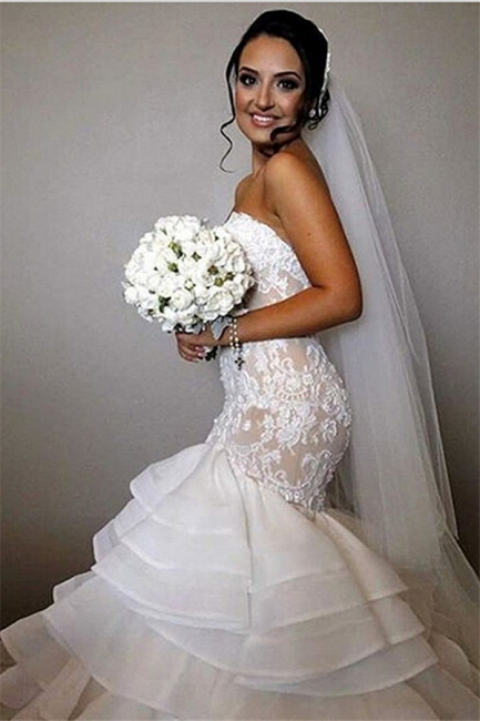 Elegant Lace  Mermaid Wedding Dress Tiered Open Back Strapless Wedding Gowns BA1540