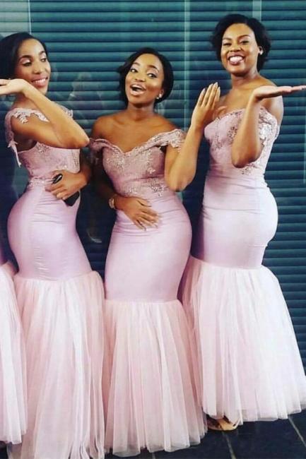 Elegant Sheath Cape Off-the-Shoulder Bridesmaids Dresses | Pink Long Bridesmaid Dresses