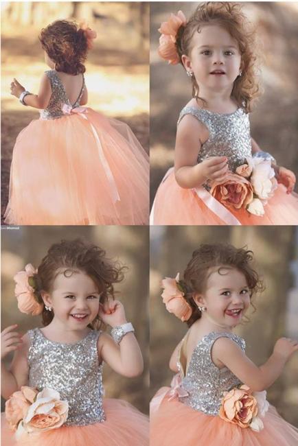 Tulle Cute Sequined  Flower Girl Dresses Lovely Sequined Girls Pageant Dress BA0657