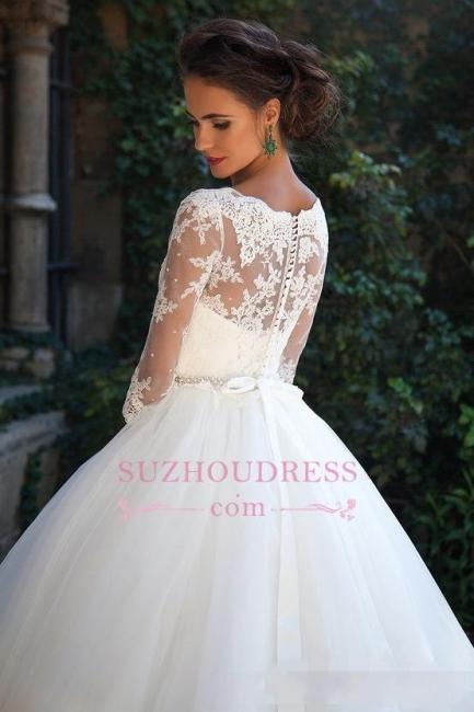 Princess Lace Half Sleeves Elegant  Ball Gown Wedding Dresses BA3678